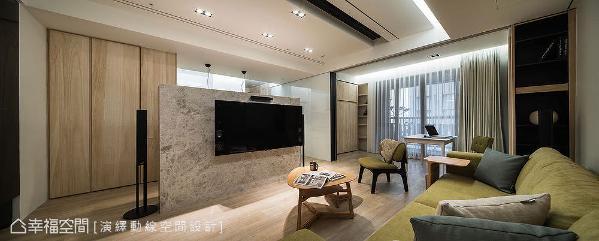 中岛电视墙带来通透设计,形成回字型循环动线;巧妙新增半开放式书房,原本大而不当的客厅因而拥有足够宽深。