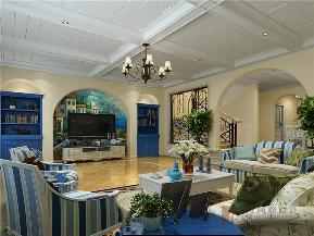 地中海 别墅 80后 小资 高帅富 客厅图片来自高度国际姚吉智在330平米地中海风别墅海洋之心的分享