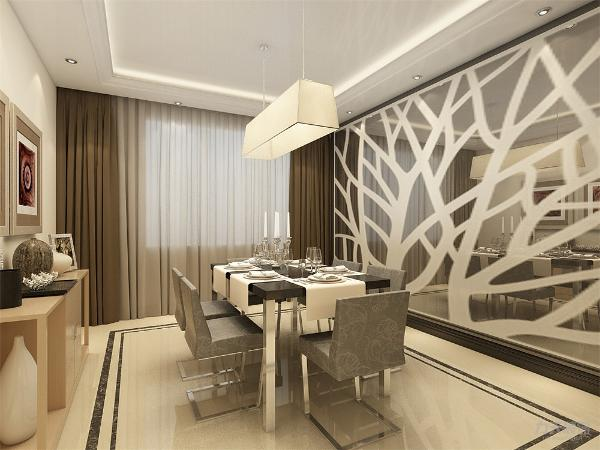 餐厅的吊灯与客厅相一致,餐厅背景墙做艺术造型墙,增加餐厅的情调。