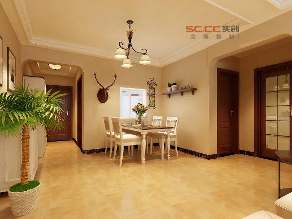 餐厅效果-福美国际120平三居室-美式田园风格-石家庄实创装饰