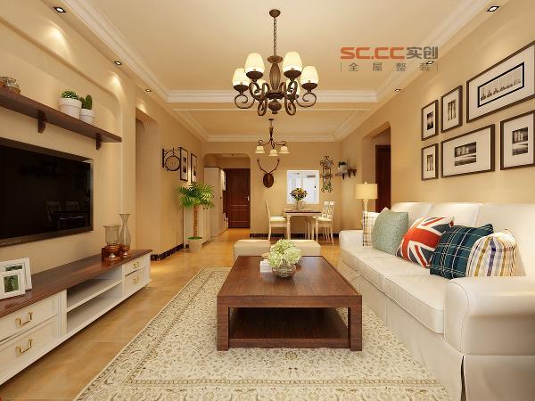 客厅效果-福美国际120平三居室-美式田园风格-石家庄实创装饰