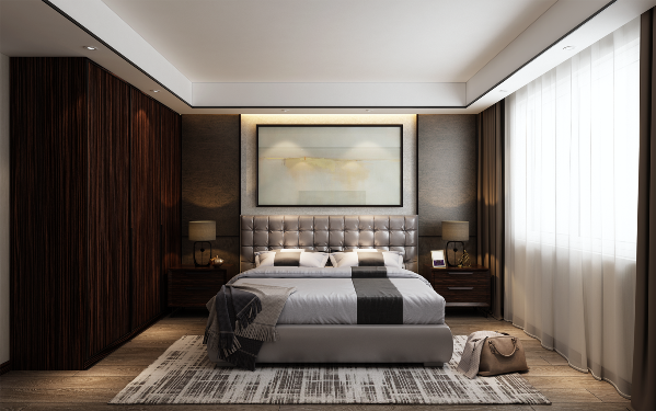 天花以极细的叠级高度和黑钢收边,突出空间第一眼的强烈精致感。床头背景墙是进口皮质软木地板,在反灯槽和四周射灯烘托下,其细腻感和奢华质感完美呈现。