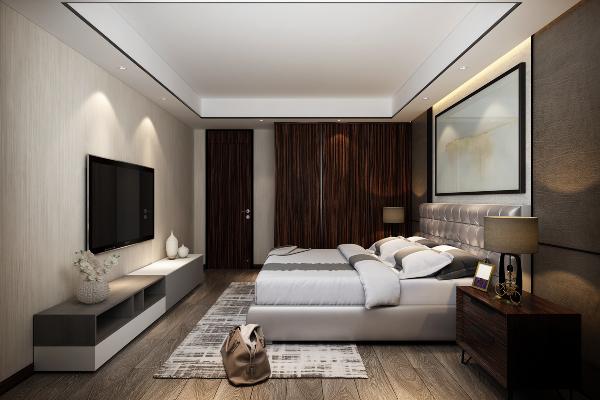 电视背景墙使用具有当代简约的东方韵味纹路的进口壁纸,与床头吊灯形成完美的气质呼应,配以地面进口大面积地板色彩纹理,卧室空间在具有舒适品质的实际功能同时,独具当代简约奢华的强烈气质。