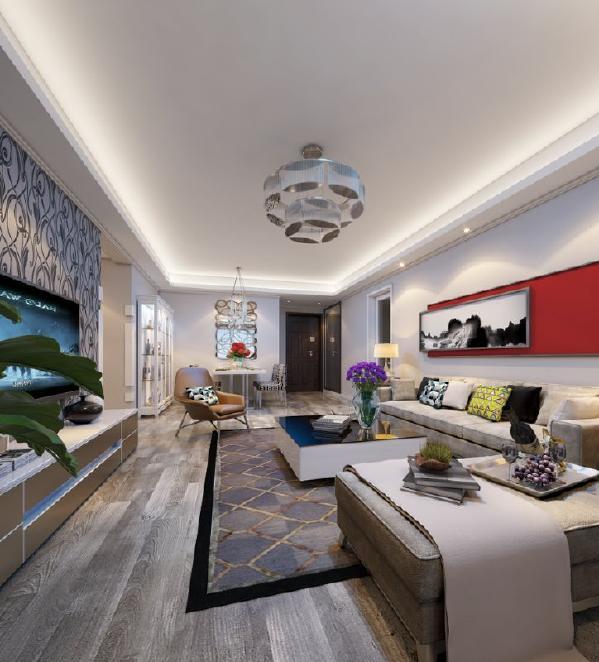 整体房间以淡淡的灰蓝色为基调配合壁纸来烘托整体风格。主要装饰材料以强化地板、进口壁纸、乳胶漆、白色木作为主,局部配以亮色金属、镜面、亮色烤漆柜体来点缀,整体展现的效果很现代又不失温馨。