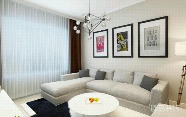 沙发后的背景墙搭配让整个空间不显冰冷,有了温度;