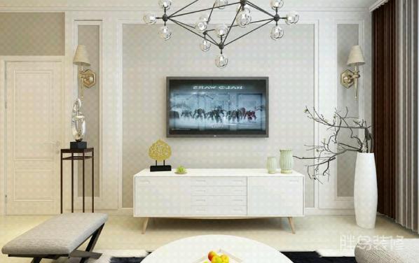 背景墙用简单留空的灰色填充,让整个空间不至于贯穿白色显得单调;
