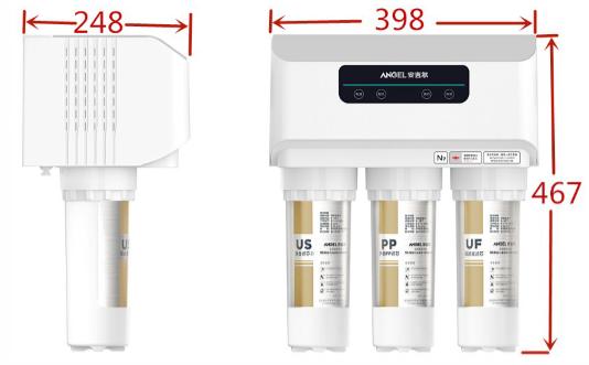 N7(J2605-ROB60)净水器安装尺寸需要比机器尺寸大100mm,即上图尺寸各加100mm为安装尺寸。