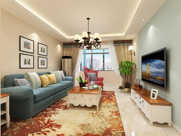 客厅中电视选择贴在墙上,电视柜造型简单方便,极具装饰性。靠墙位置放置米色布艺沙发,与墙体颜色相对比,造成一种跳跃的感觉,沙发背景墙铺贴石砖造型壁纸。深木色茶几点缀了整个空间的颜色又给人以舒适温馨的感觉