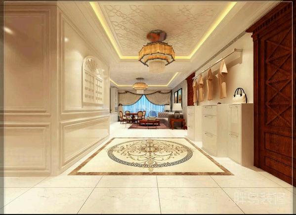 门厅是一个家最先展现在眼前的空间,这个设计极具视觉拉伸感,地上的拼花地砖令人眼前一亮。复古的灯很有味道不是么?
