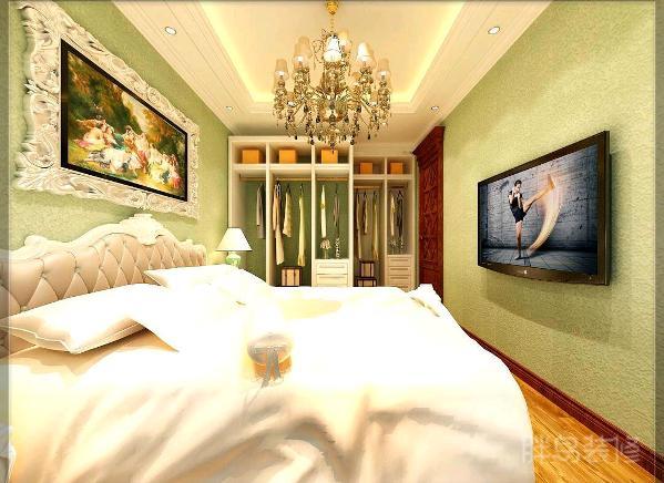 侧面的卧室,依靠着大床,喝杯红酒?看看电视品品酒,安然入睡。一个字:美!