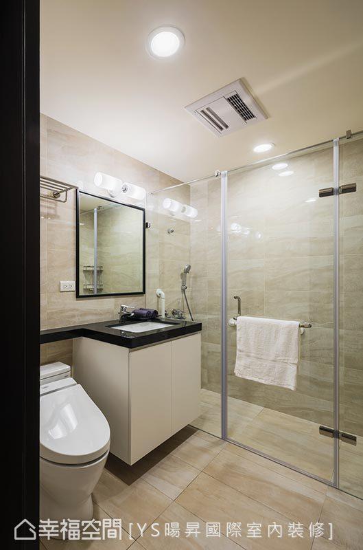 内外地坪设计1cm的高低差,完善处理浴室排水机能方面的疑虑,并配置防滑地壁砖,提升居家安全性。