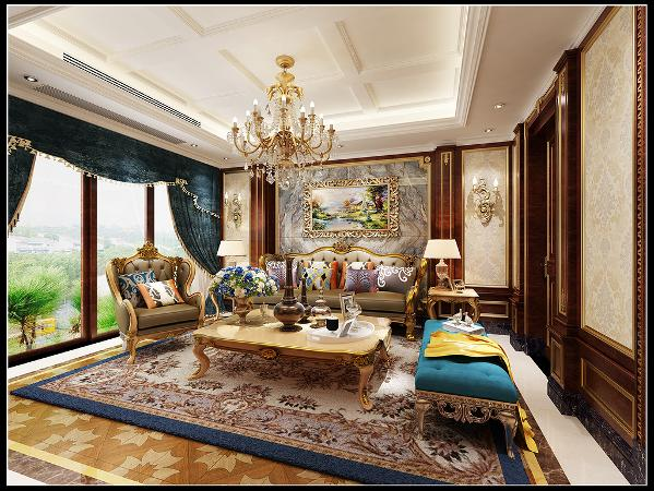 用温馨的暖色墙纸结合宫廷式软装营造舒适的家庭空间。
