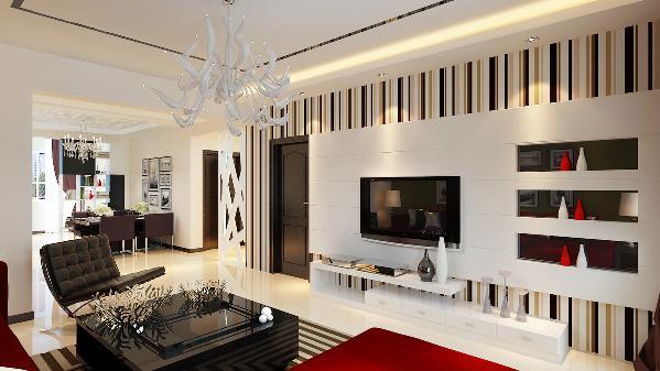 背景墙的长度比较长,而且有个主卧的门,所以背景墙的造型采用不对称的做法,利用红白黑的色彩对比,所以在材质方面采用了石膏板和黑镜搭配,体现出强烈的现代感。