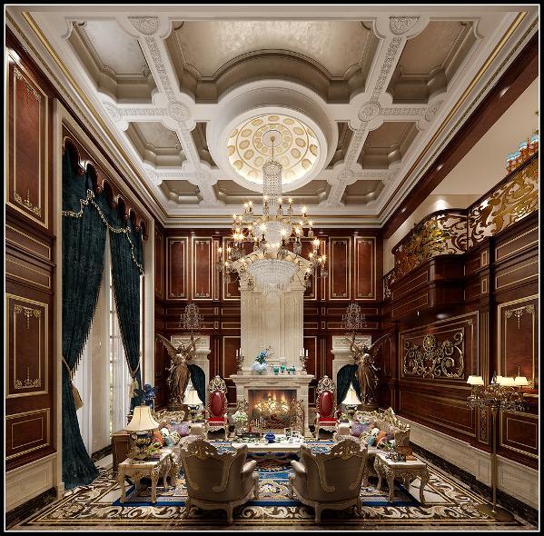 深色花梨木饰面结合描金工艺是对品质的高要求,中间欧式壁炉和挑高背景让整个空间非常有气势。宫廷风的家具,软装和整体氛围相得益彰。