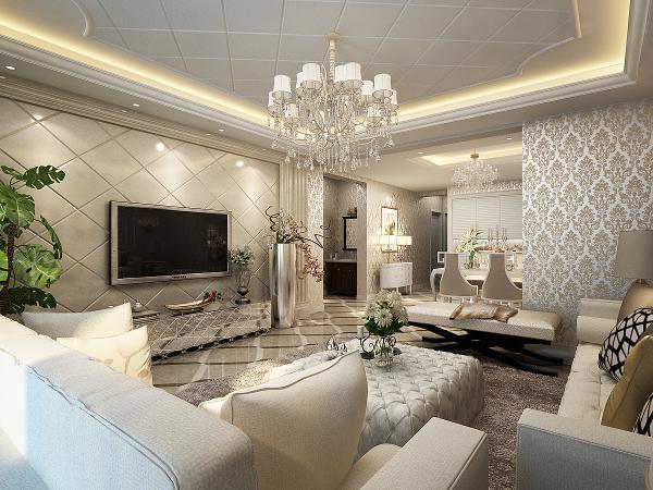 电视墙为浅色瓷砖斜铺,精致系咪。墙面用欧式花纹壁纸,烘托欧式氛围。地面拼花彰显主人生活品味。顶部天花很有参差感。