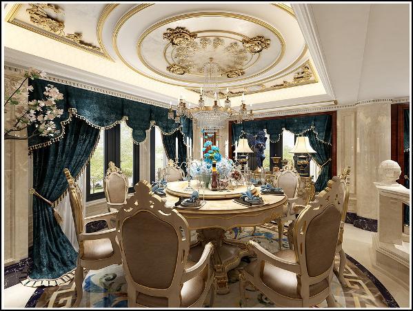 餐厅以暖色调石材搭配宫廷式绿色窗帘,吊灯等延续了公共空间奢华的调性,在此用餐也不单单是用餐的感受了吧。