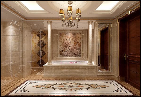作为奢华风的主卧配套,主卫的高档石材应用会比较多。地面水刀拼花,罗马柱,马赛克拼花等共同为整体环境在打造品质,小到玻璃上的欧式拉花设计师也没忘奢华一把。