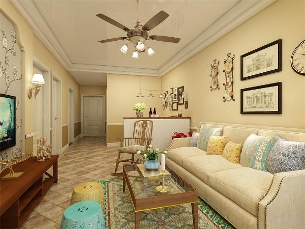 客厅电视背景墙做简单的石膏造型,沙发背景墙简单处理,挂上几幅装饰画,显示美观。整体色调以暖色为主,深色点缀,电视柜深色实木家具,使得整个房间层次分明