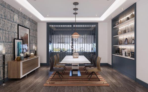 餐厅空间布局讲究对称的美学意义。冷静优雅的蓝色柜体采用上下分隔式储物收纳,爵士白大理石台面与隐藏式灯带赋予柜体优雅轻盈感。两侧背景墙使用蓝色系进口壁纸,在颜色与细节感和整体空间形成完美的呼应。