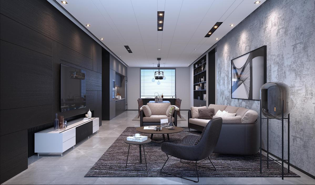 电视背景墙木地板保留木头自然朴质的纹理,沉稳且耐人