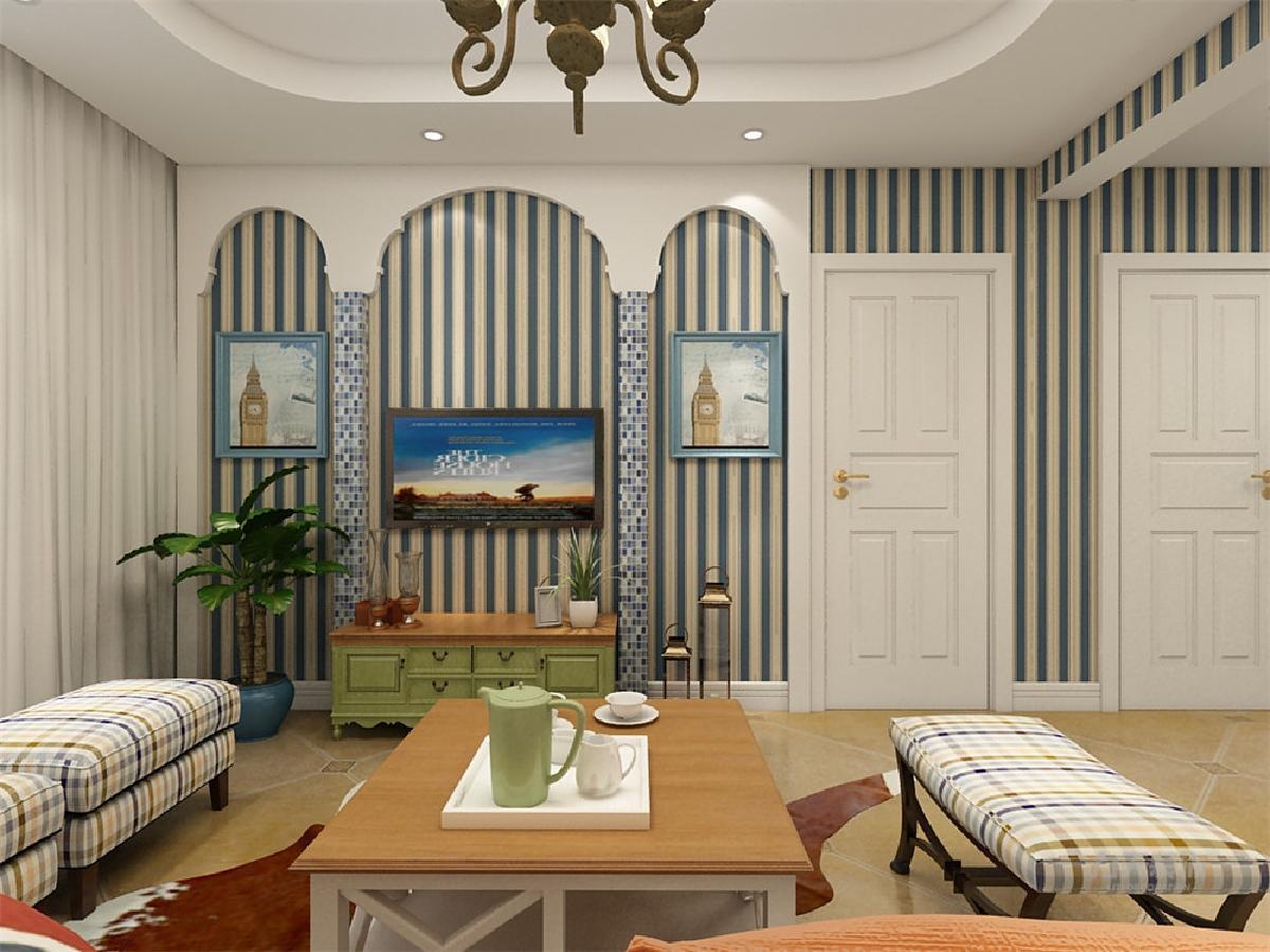 客厅电视背景墙采用石膏板做的弧形造型,中间加上两条