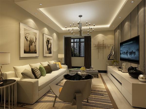 客厅整体追求空间开敞,内外通透,在空间追求上不承受墙限制的自由,整个立体形式会有条不紊的,有节奏的曲线融为一体,既体现实用性也体现现代社会追求的精致和个性。