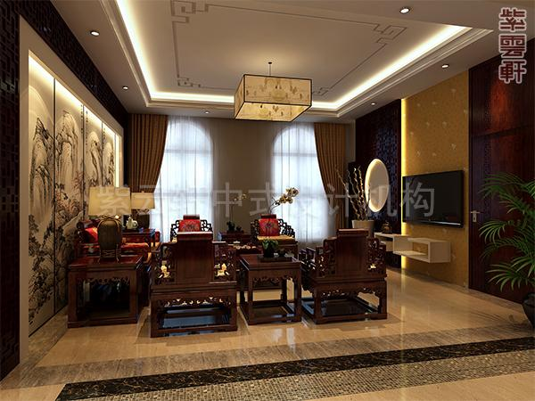 客厅淡色大理石地板,巨幅山水壁画前陈列着整套红木桌椅,那种饮乎山水之中的悠然自得的情调,跃然于客厅。