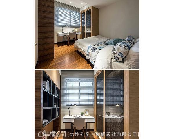 与客厅共享的墙体做双面柜设计,开向卧房为床头柜,客厅则为机柜充分运用空间。
