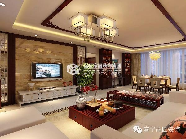 电视背景墙采用米黄瓷砖上墙两边是白色木质花阁搭配银镜