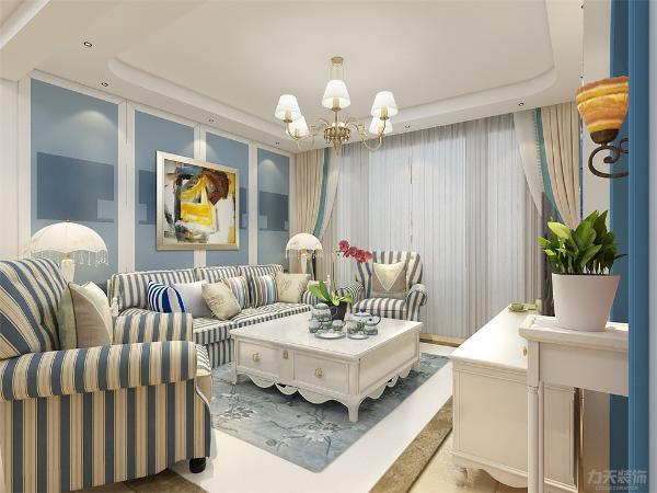 客厅沙发是蓝白相间条纹图案,显示了地中海的特点,电视背景墙用石膏板做的造型,在背景墙两边放了两盏壁灯最为装饰。沙发背景墙做了简单造型,在背景墙上挂了一张画作为装饰。