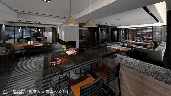屏除不必要的隔间墙体,全通透的室内环境,以家具定位各场域的性质与范围,不仅视野及空间感完全串流,亦让各区访客可轻松维持互动。(此为3D合成示意图)