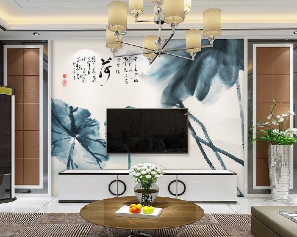 Sumgar全屋定制壁画 《初发芙蓉》 水墨情怀艺术背景墙