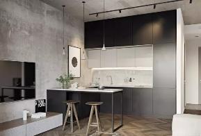 沈阳装修 沈阳公寓装 厨房图片来自沈阳瑞家装饰装修工程有限公司在沈阳60平黑白灰极简风公寓装修的分享