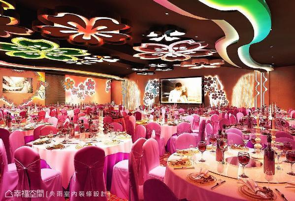 造型丰富的天花板,搭配五颜六色的灯光设计,创造令人目不暇给的视觉飨宴。 (此为3D合成示意图)