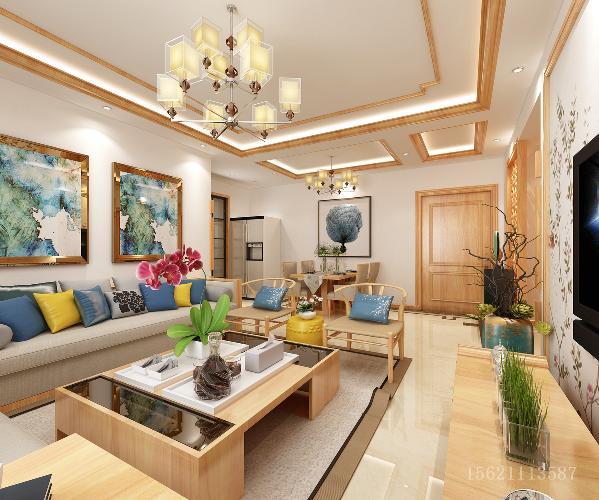 青岛阔达装饰-新中式客厅