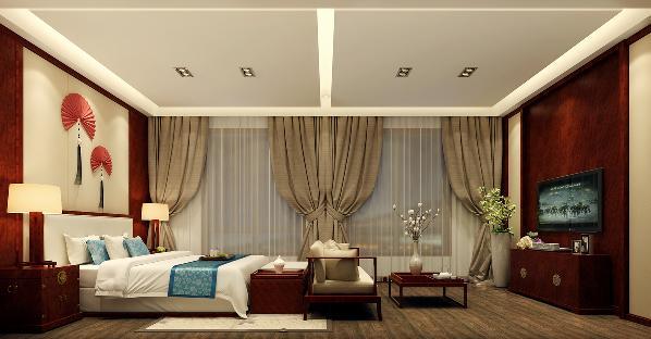 卧室:顶面采用平顶上返灯带设计手法,胡桃木质电视背景墙与床头背景墙相互呼应,简约雅致大气。