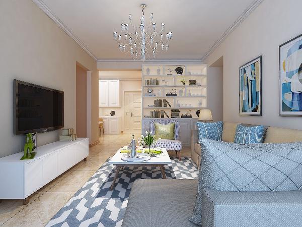 客厅地毯和沙发后的挂画颜色搭配的比较好