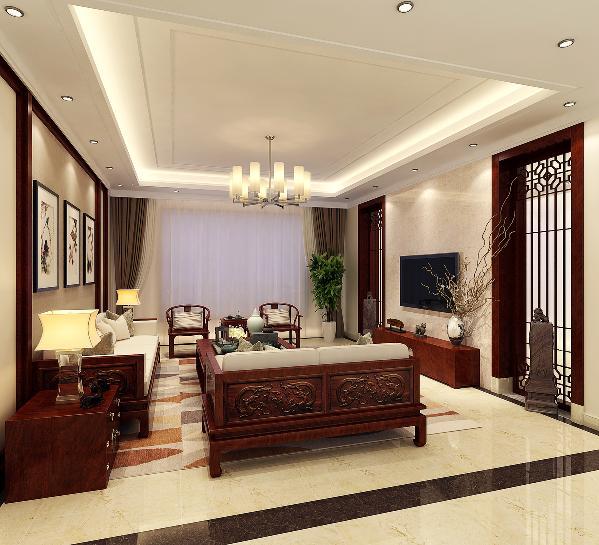 客厅:运用方正对称设计手法,回形直线吊顶叠层勾线设计造型,大理电视背景墙,简约大气。