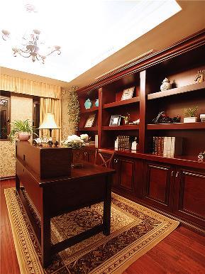 美式 别墅 大户型 跃层 复式 小资 高帅富 书房图片来自高度国际姚吉智在220平米美式别墅钟爱复古狂享曲的分享