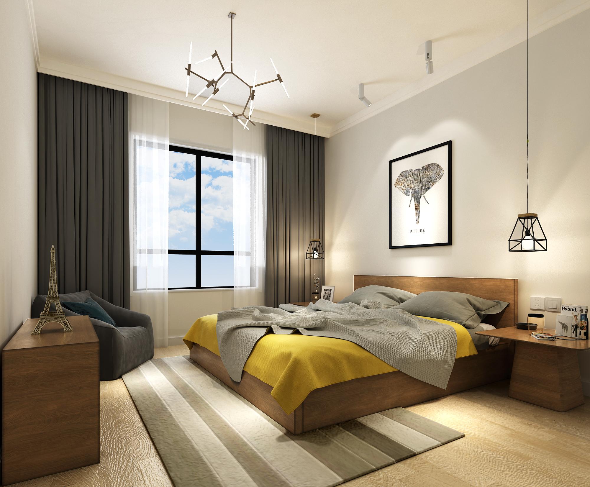 简约二居北欧现代卧室装修效果图片_装修美图-新浪家居图片