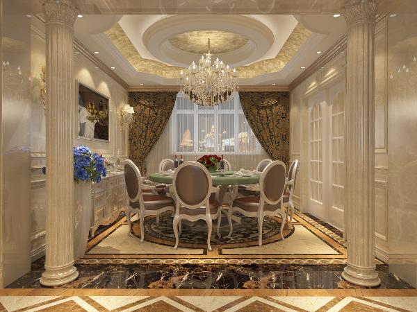 餐厅秉持典型的法式风格搭配原则,餐桌和餐椅均为米白色,表面略带雕花,配合扶手和椅腿的弧形曲度,显得优雅矜贵,而在白色的卷草纹窗帘、水晶吊灯、瓶插红色玫瑰的搭配下,浪漫清新之感扑面而来。