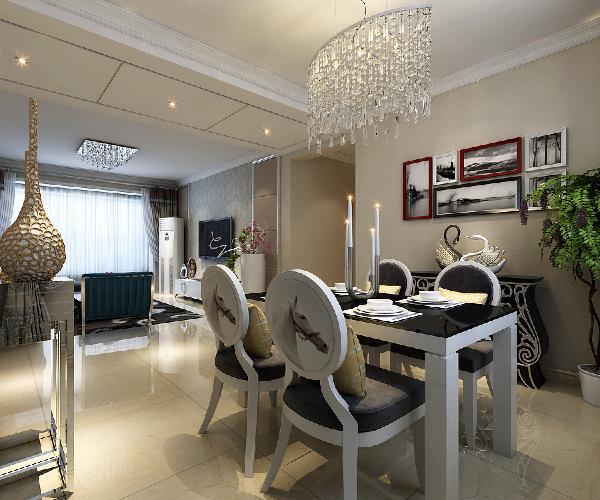 餐厅的装修设计效果展示,餐厅、客厅在一条南北线,整个户型非常通透