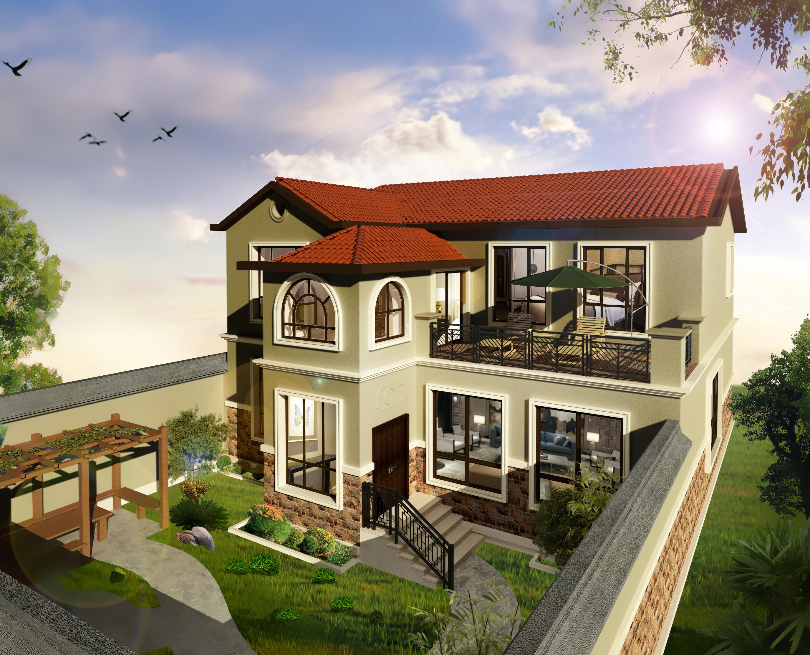 本案独栋别墅外观与庭院结合和室内的设计运用了托斯卡纳和新中式混搭图片