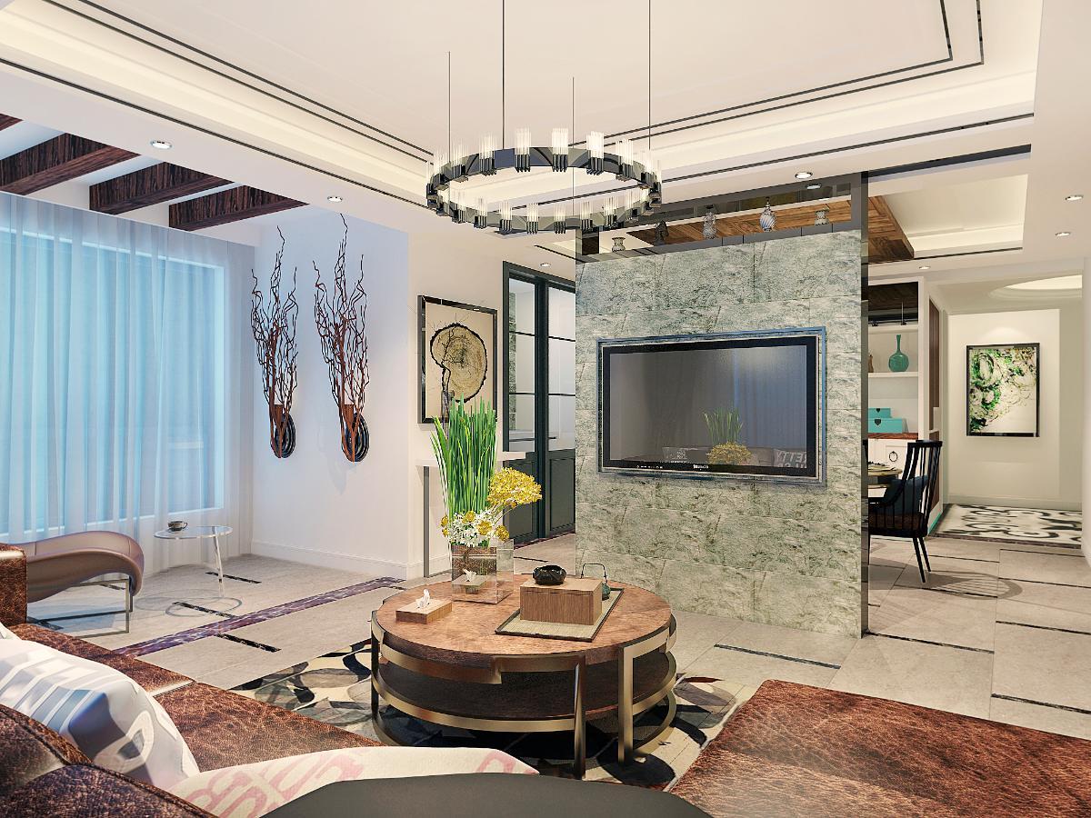 客厅的格局上打破了常规的沙发摆放,用隔断式的背景墙装饰手法,让客餐厅空间极具观赏性。