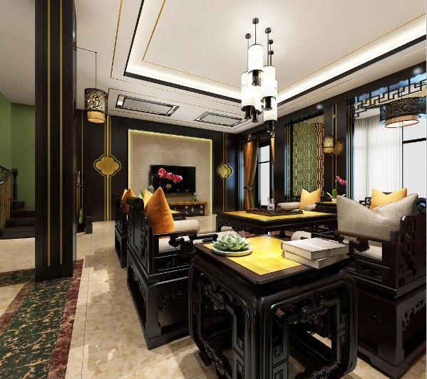 中式风格别墅装修设计案例,上海腾龙别墅设计作品,欢迎品鉴