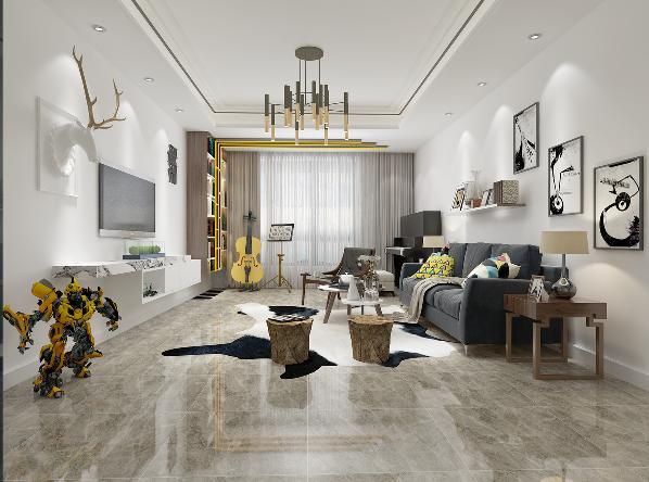 亮黄色的点缀增添空间的氛围,装饰线条的设计使得空间附有延伸感。