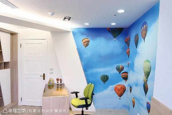 几何造型的天花板勾勒出驾驶舱的模样,结合韩国的热气球图案壁纸,营造出云端飞行的情境意象。