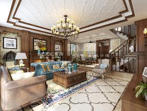 别墅 金秋泰和郡 实创 美式 新古典 客厅图片来自实创装饰小彩在新古典美式金秋泰和郡318平装修的分享