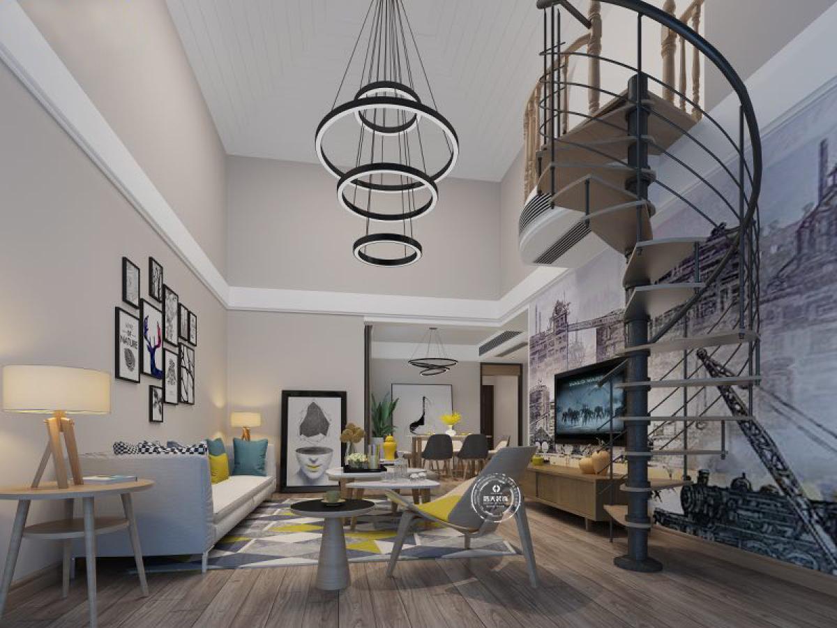 客厅为挑空设计,用大型的吊灯做装饰,又增加了整体的层高;旋转楼梯的