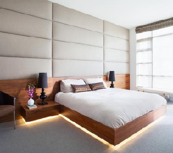 漫反射的间接光从床和夜床下发出,向大气增添神秘感.图片